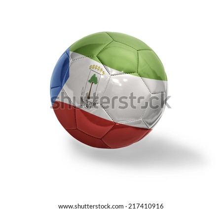 Football ball with the national flag of Equatorial Guinea on a white background - stock photo