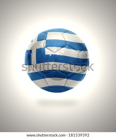 Football ball with the national flag of Greece on a gray background