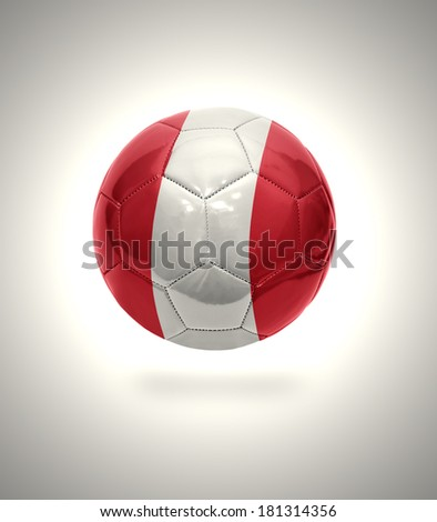 Football ball with the national flag of Peru on a gray background
