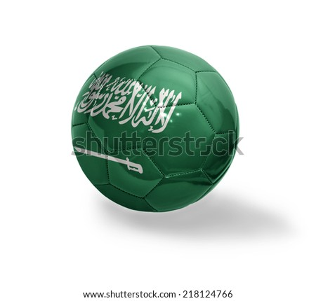 Football ball with the national flag of Saudi Arabia on a white background - stock photo
