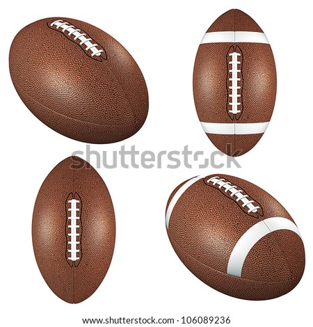 Football balls isolated on white - stock photo
