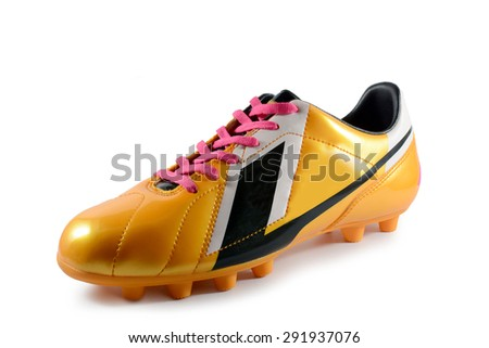 Football boot gold on white background  - stock photo