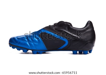 Football boots. Soccer boots. Isolated on white. - stock photo
