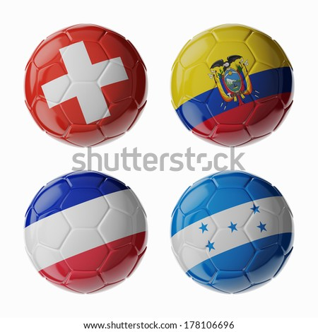 Football Championship 2014. Group E. Football/soccer balls. - stock photo