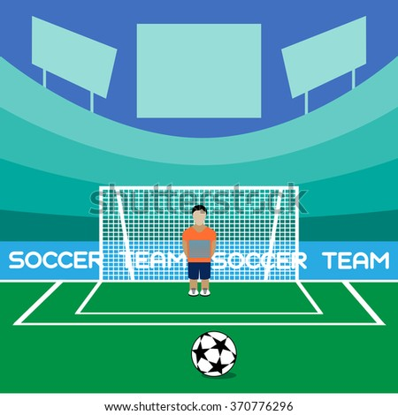 Football Club Soccer Player Silhouette. Computer game Soccer player big set. Sports infographic. Goalkeeper in Flat Style Standing in a Goal. Raster illustration. - stock photo