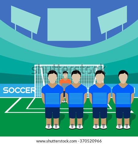 Football Club Soccer Players Silhouettes. Computer game Soccer team players big set. Sports infographic. Football Teams in Flat Style. Goalkeeper Standing in a Goal. Raster illustration. - stock photo