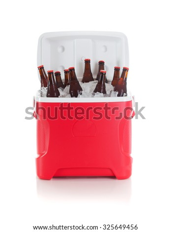 Football: Drink Cooler Full Of Beer Bottles Ready For Party - stock photo