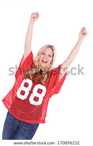 Football Fan: Woman Cheering With Hands In Air - stock photo
