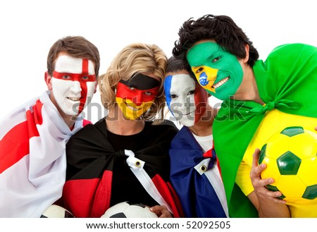 Football fans with flag painted on their faces - isolated over a white background - stock photo