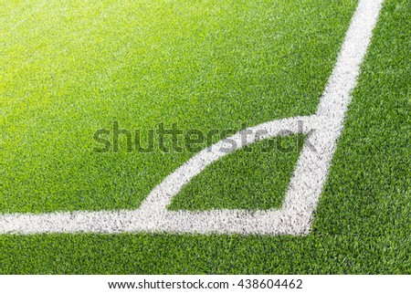 Football field corner with artificial grass - stock photo