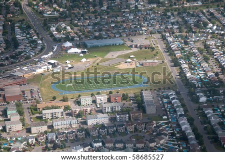 Football field seen from an helicopter at 1000 feet - stock photo
