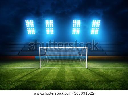 Football Field & Stadium Lights. Background illustration. - stock photo