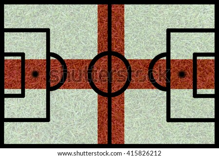 Football field textured by England national flags on euro 2016 - stock photo