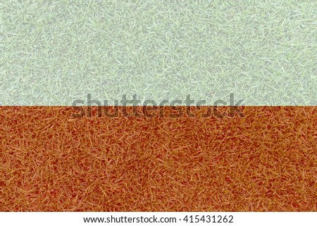 Football field textured by Poland national flag on euro 2016 - stock photo