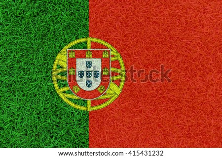 Football field textured by Portugal national flag on euro 2016 - stock photo
