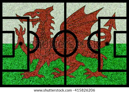 Football field textured by Wales national flags on euro 2016 - stock photo