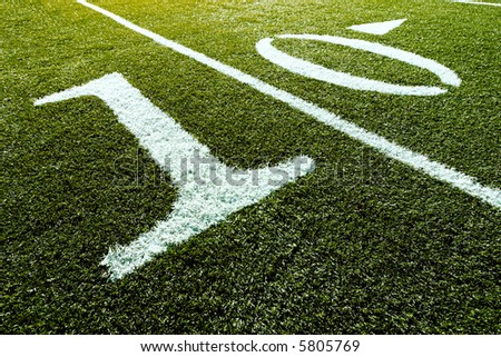 Football Field with 10-Yard Mark - stock photo
