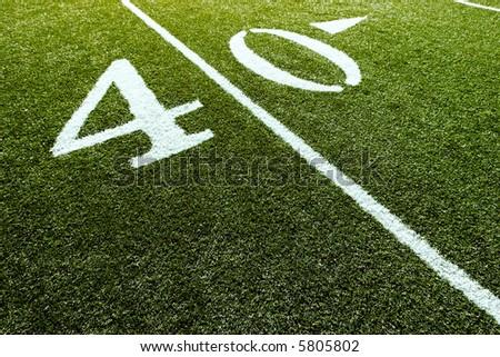Football Field with 40-Yard Mark - stock photo