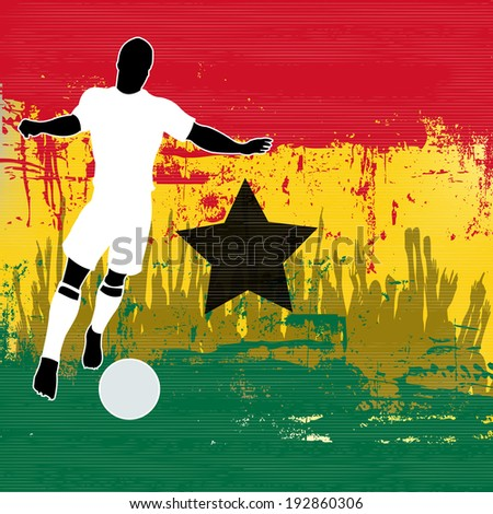 Football Ghana, Soccer player over a grunged  Ghanaian  Flag and cheering crowd - stock photo