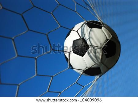 football goal net win winner champion soccer sport game background for design - stock photo