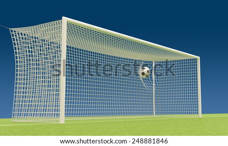 Football goal with flies into the net football ball. 3d render image. - stock photo