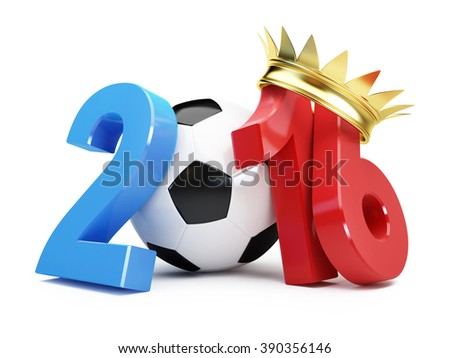 football 2016 gold grown France. 3d Illustrations on a white background - stock photo
