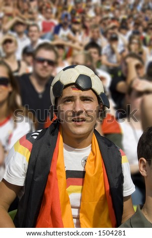 football head fan during world cup - stock photo