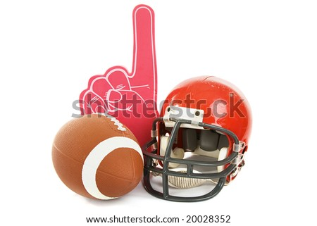 Football, helmet, and foam number one finger.  Isolated on white background. - stock photo