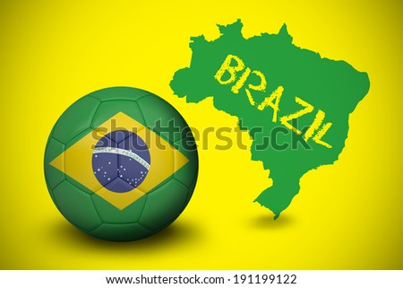 Football in brasil colours against green brazil outline on yellow with text - stock photo