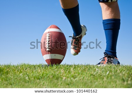 Football Kick low angle - stock photo