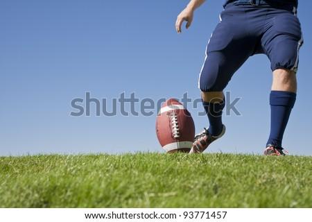Football Kickoff (Horizontal photo with copy space) - stock photo