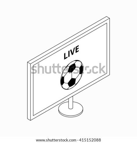 Football Match On Tv Icon Isometric Stock Illustration 415152088