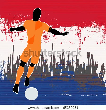 Football Netherlands, Soccer player over a grunged Dutch Flag and cheering crowd - stock photo