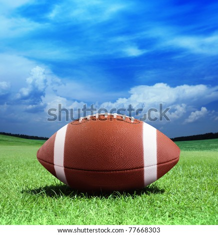 football on arena near the 50 yard line - stock photo