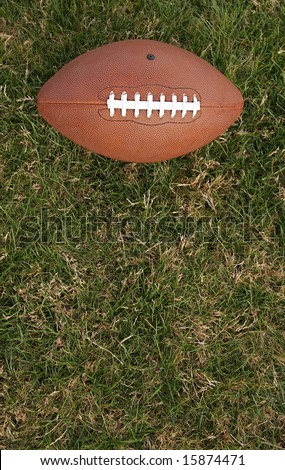 Football on grass with room for copy - stock photo