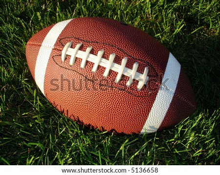 Football on long grass looking down. - stock photo