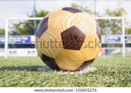 football on penalty spot with goal - stock photo