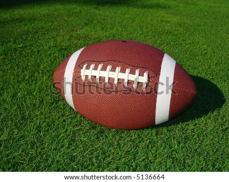 Football on short grass, side angle. - stock photo
