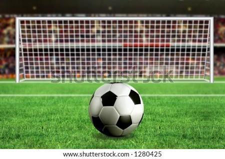 football - penalty in the stadium 3d illustration - stock photo