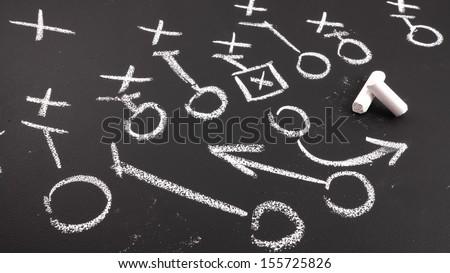 Football play on chalkboard  - stock photo
