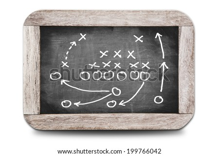 Football play strategy on a small chalk board