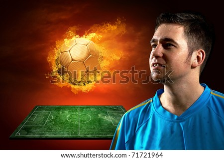 Football player and fire ball on the field - stock photo