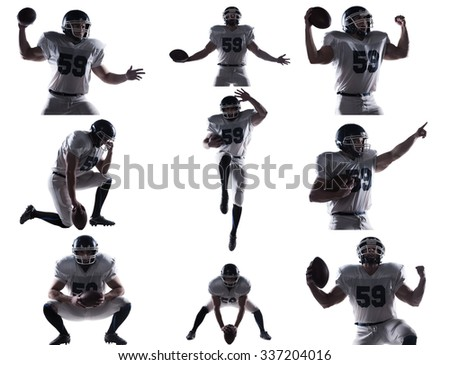 Football player. Collage of American football player in different situations and against white background  - stock photo