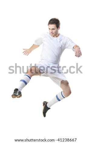 Football player in jump isolated against white background - stock photo