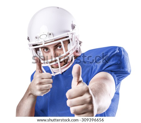 Football Player on blue uniform isolated on white background