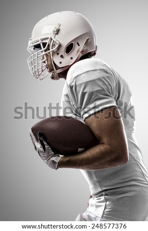 Football Player with a white uniform Running on a white background.