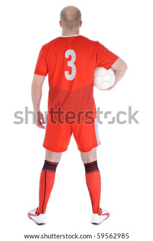 Football player with the ball. Isolated on white background - stock photo