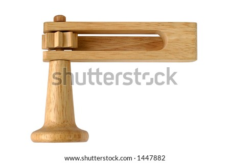 Football Rattle, front - a classic wooden musical ratchet (noisemaker) used nowadays by sports fans. - stock photo
