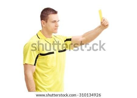 Football referee showing a yellow card isolated on white background - stock photo