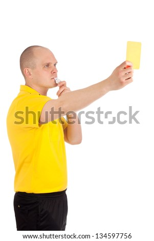 Football referee showing you the yellow card - stock photo